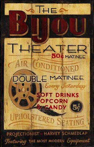 Personalized, The Bijou Theater Antiqued Wood Sign