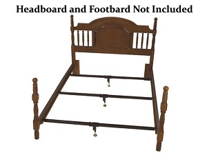 Wooden Railed Bed Frame Metal Support System