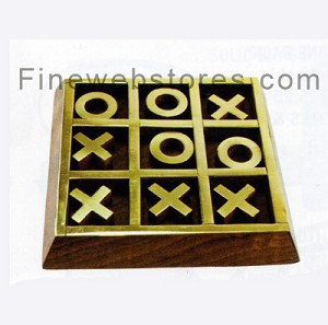 Wooden Tic Tac Toe Set With Brass Inlaid