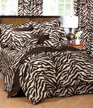 Brown and Tan Zebra Print Comforter and Bedding