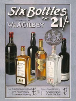 Six Bottles for 21 Vintage Alcohol Tin Sign