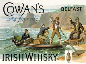 Cowan's Irish Whisky Vintage Alcohol Tin Sign