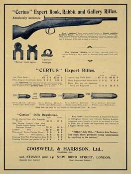 Certus Expert Rook, Rabbit and Gallery Rifles Vintage Tin Sign