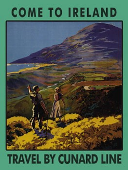 Come To Ireland By Cunard Line Vintage Tin Sign