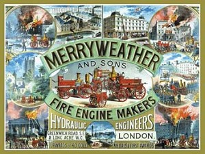 Merry Weather and Sons Fire Engine Makers Vintage Tin Sign