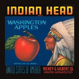 Indian Head Brand Washington Apples Vintage Tin Sign