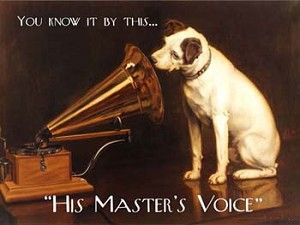 "You Know It By This ""His Master's Voice"" Tin Sign"