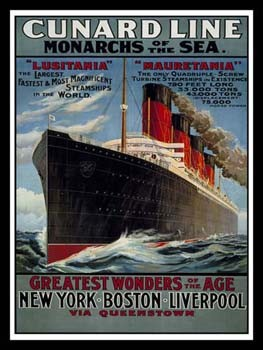 Cunard Line Monarchs of the Sea Vintage Tin Sign