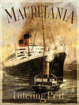 Mauretania Ship Entering Port Metal Sign