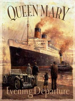 Queen Mary Evening Departure Vintage Tin Sign