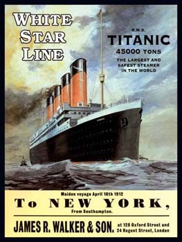 White Star Line R.M.S. Titanic 2 Vintage Tin Sign