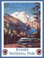 Rainier National Park Vintage Tin Sign