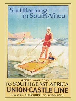 Surf Bathing in South Africa Vintage Tin Sign