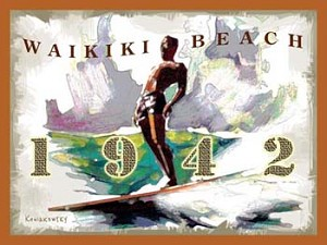 Waikiki Beach 1942 Tin Sign