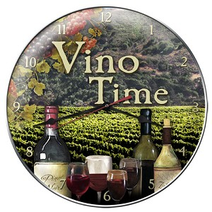 Vino Time 14 Inch Diameter Metal Wall Clock