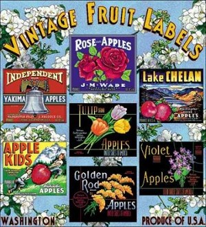 Vintage Fruit Labels Tapestry