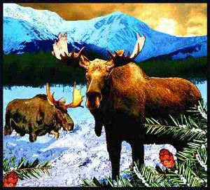 Lodge Moose Mountains Tapestry