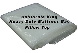 Heavy Duty California King Size Plastic Mattress Bag for moving or storage of your mattress, suitable for a pillowtop mattress