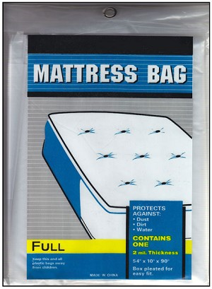 Full or Double Size Plastic Mattress Bag