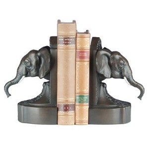 Elephant Head Bookends