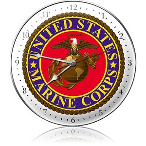 US Marine Corps Metal Clock