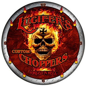 Lucifers Choppers Metal Clock