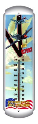 V For Victory Metal Thermometer