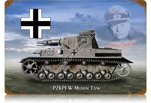 Panzer IV Medium German Tank Vintage Metal Sign