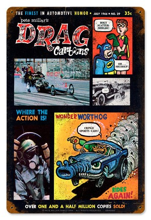 Drag Cartoons Cover July 1966 Metal Sign