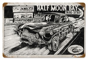 Half Moon Bay Drag Strip Vintage Metal Sign