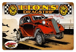 Lions Drag Strip Vintage Metal Sign