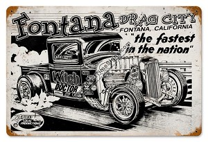 Fontana Drag City Vintage Metal Sign