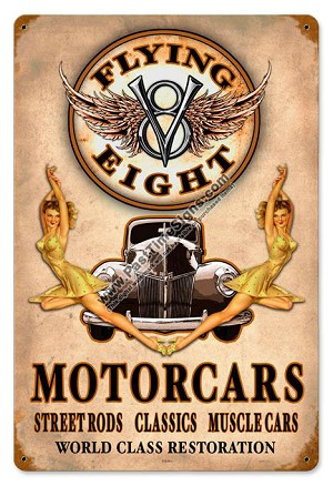 Flying V8 Motorcars Vintage Metal Sign