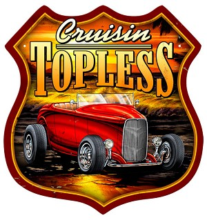 Cruisin' Topless Vintage Metal Sign