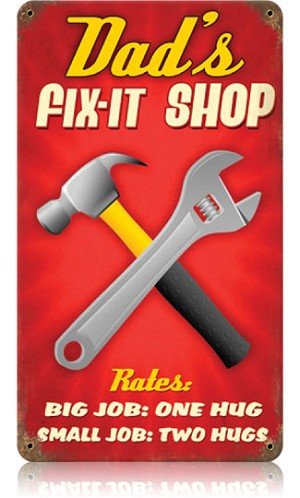 Dad's Fix It Shop Vintage Metal Sign