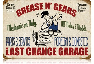 Grease Gears Garage Vintage Metal Sign