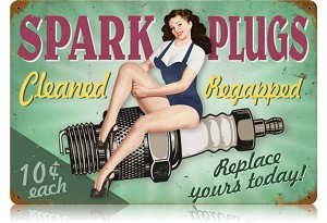 Spark Plugs Pin Up Vintage Metal Sign
