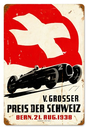 Swiss Race Car Vintage Metal Sign