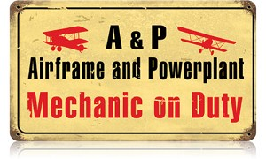 Airframe Mechanic Vintage Metal Sign