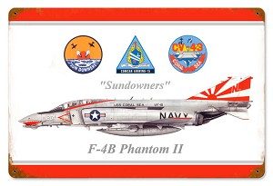 F-4B Phantom Sundowners Vintage Metal Sign