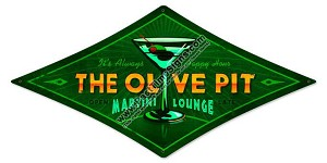 Olive Pit Martini Lounge Vintage Metal Sign