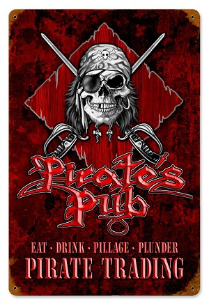 Pirate's Pub Vintage Metal Sign