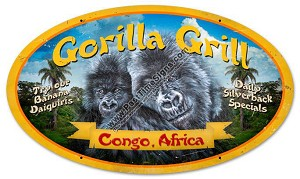 Gorilla Grill Vintage Metal Sign