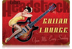 Guitar Lounge Vintage Metal Sign