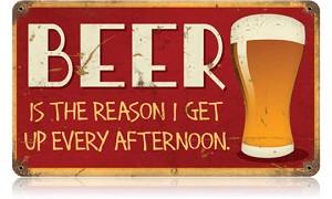 Beer Afternoon Vintage Metal Sign