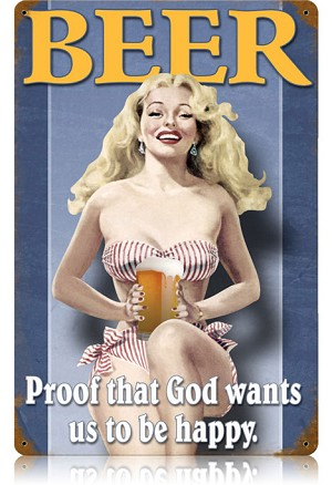 Beer Pin Up Vintage Metal Sign