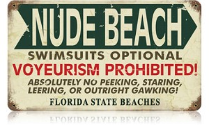 Nude Beach Florida Vintage Metal Sign
