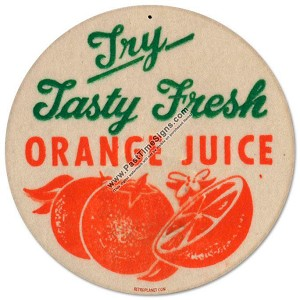 Fresh Orange Juice Vintage Metal Sign