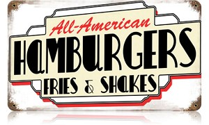 All American Hamburgers Vintage Metal Sign
