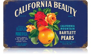 California Beauty Vintage Metal Sign